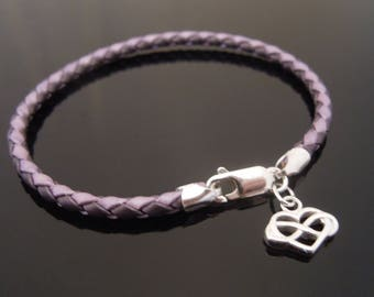 3mm 2-Tone Purple Braided Leather Bracelet With 925 Sterling Silver Infinity Heart Charm