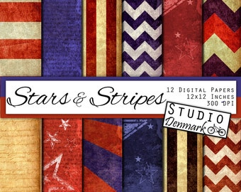 Stars and Stripes Digital Paper - 12 Designs - Patriotic Vintage 4th of July - USA Red White and Blue - 12in x 12in 300 - Instant Download