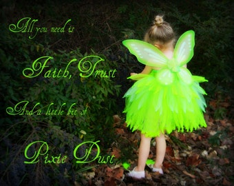 """Neon Green Tinkerbell Fairy Pixie Wings 24""""x19"""""""