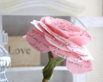 2 year anniversary Long Stem Pink Rose Sweet engagement Anniversary Wedding Gift  Flowers by Cotton Bird Designs