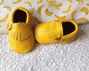Mustard yellow Leather fringe Moccasins shoes, Baby Gift