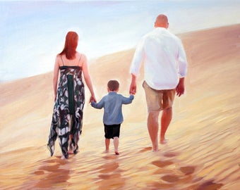 Family Gifts Custom Family Portrait Family Photo Personalized Art Hand Painted Portrait