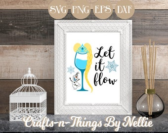 Elsa Disney Wine Glass SVG