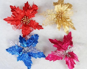 Large Artificial Glitter Poinsetta Ornament