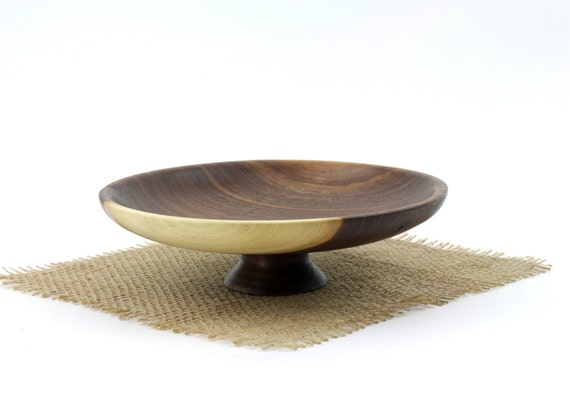Wooden Walnut Pedestal Bowl /Wood Candy dish