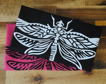 2x Dragonfly, Pink Black, Cotton, Hand Made, Screen Printed, Tea Towel, Dish Towel, Set of Two