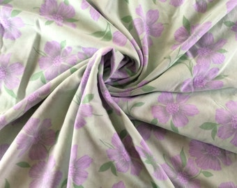 Vintage Floral Fabric - Green and Lilac Fabric - Over 2m x 2m - Dressmaking Fabric - Craft Fabric