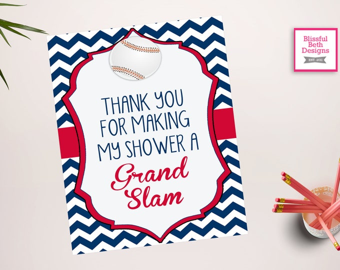 Grand Slam Sign - Thank You Baseball  Sign -Baseball Baby Shower - Baseball Shower - Baseball Shower - Little All Star