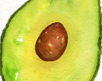 Avocado Original watercolor painting  4 x 6 watercolorkitchen decor, green food art, SharonFosterArt Farmhouse Decor, Rustic design
