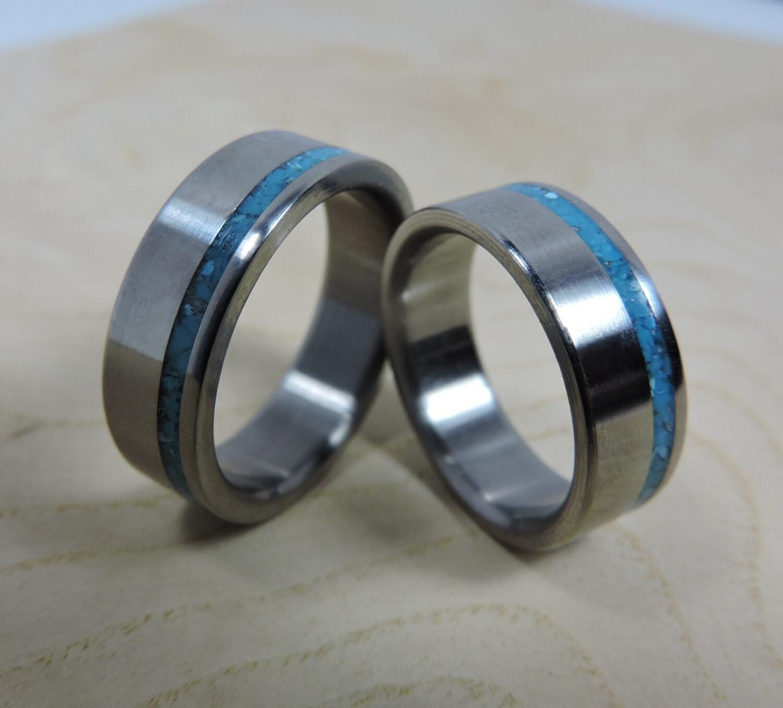 Titanium Rings Wedding Rings Turquoise Rings Wedding Band