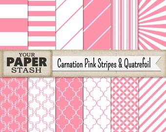 Pink Digital Paper, Pink Scrapbook Paper, Pink, Striped, Digital Paper Pack, Scrapbooking, Girl, Baby Girl, Wedding, Scrapbook Page, Print