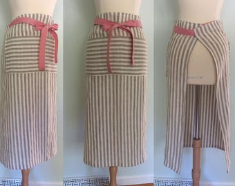 Long Half Apron with Pockets Pink Ties, Restaurant Apron, Server Apron, Wide Half Apron, Long Half Apron Linen, Waist Apron Long