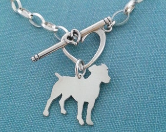 Jack Russell Terrier Dog Chain Bracelet, Sterling Silver Personalize Pendant, Breed Silhouette Charm, Rescue Shelter, Birthday Gift