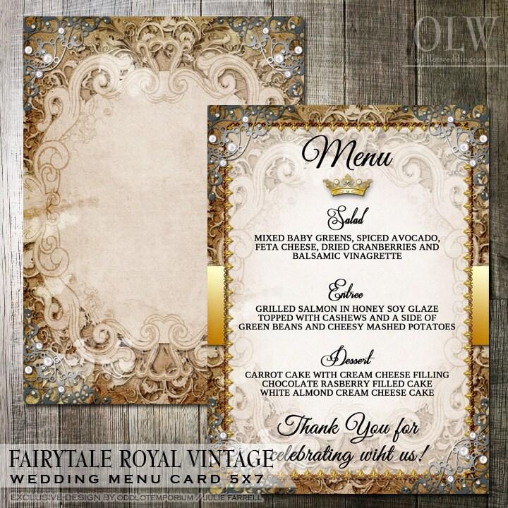 Vintage Fairytale Royal Wedding Reception Menu Digital File