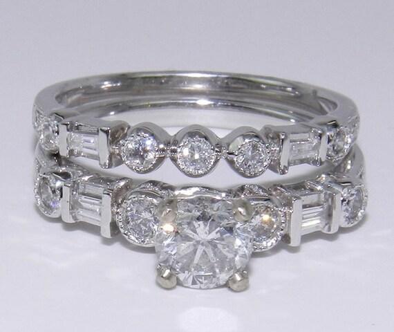 Diamond Engagement Wedding Ring Band Set 14K White Gold 1.06 ct Round Brilliant Size 7