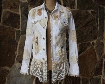 SALE*Shabby Chic doily denim jacket