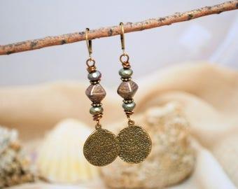 Boho earrings, boho bronze tone earrings, stylish delicate hippie earrings, everyday earrings, round earrings