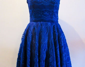 Royal blue lace dress with illusion neckline