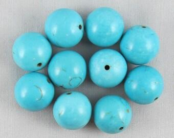 Blue Magnesite 16mm Round Beads - 10 pieces #Q17