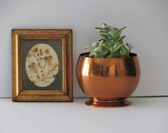 Copper Pedestal Bowl, Vintage Coppercraft Guild Copper Planter, Copper Plant Pot