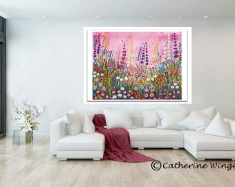 Giclee Print Abstract Flowers Bright Colorful Floral Home Decor Wall Modern Flower Art Artist Original Painting Pink Blue Catherine Winget
