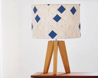 Geometric lampshade, mustard lampshade, blue lampshade, 15cm or 30cm diameter