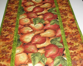 Pear Table Runner, Fall, Autumn, Leaves, quilted, handmade, focus fabric Benartex