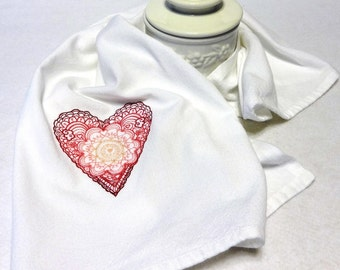 Linen-Cotton Hand Towel - Embroidered - Heart Towel - Valentine's Towel (Daydream Heart)