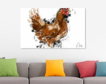 Chicken print // chicken art print // chicken decor // chicken art // chicken lover gift // chicken gifts // country kitchen decor