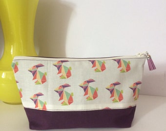 Small clutch bag or travel, plum origami rabbits