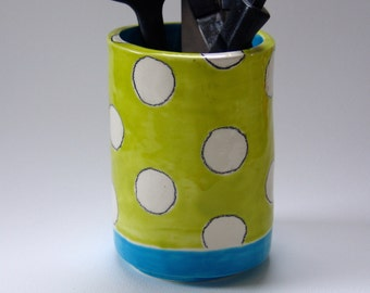chartreuse polka-dot Utensil Holder -- ceramic vessel or vase w/ bright blue pottery kitchen decor