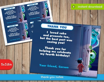 Monsters Inc Thank You Card - Printable birthday party invite - INSTANT PDF DOWNLOAD