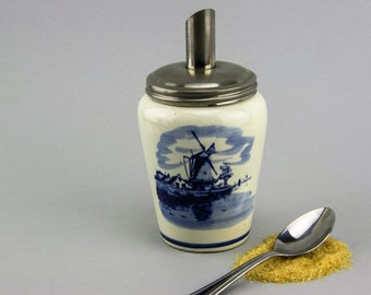 Unusual Hand Painted Delft Sugar Dispenser, Caster