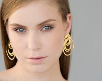 Gold Statement Earrings, statement earrings, stud earrings, gold stud earrings, post earrings, gold post earrings, large stud
