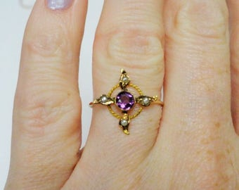 Antique Art Nouveau Victorian Era 10k Gold Amethyst Seed Pearl Stick Pin Conversion Ring