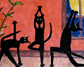 Chat noir Art - Print chat de Yoga - Yoga Wall Art - Estampe - Art Yoga - Yoga cadeau - cadeau d'amant de chat - chat Art - Illustration de chat Yoga de chat