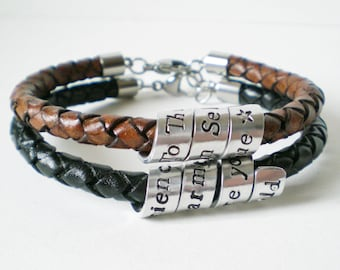 Custom Stamped Leather Bracelet, Personalised Hidden Message Bracelet, Hand-Stamped Braided Cuff, Men's Women's Jewellery, Couples Gift