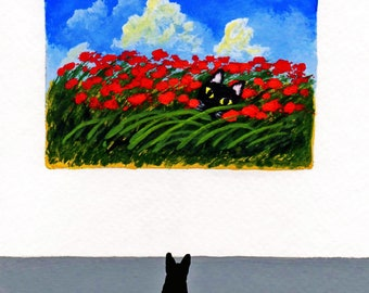 Black Cat ACEO Folk Art PRINT of Todd Young painting At the Gallery