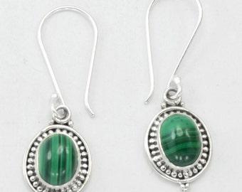 Malachite Earrings,Green Earrings,Oval Earrings,Malachite and silver earrings,Boho Jewelry earrings,Earrings lot Gems & Jewelry