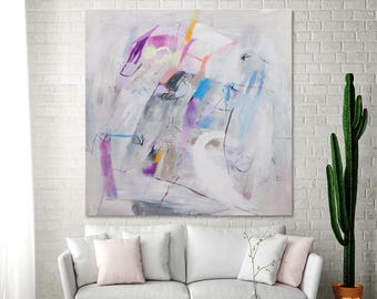 "White ABSTRACT PAINTING on canvas large wall art 36x36 fun fresh original art Ultra violet purple  ""Experimental Joy 02"" by Duealberi"