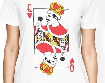 Queen Band shirt Freddie Mercury t shirt with playing card - Queen TShirt Funny Women Graphic Tee Music Band T-Shirt Girlfriend Gift for Her