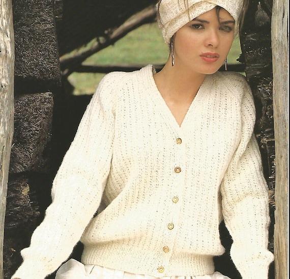 mujer de punto costilla patrón v cuello abotonado manga larga