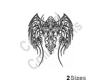 Winged Cross Machine Embroidery Design