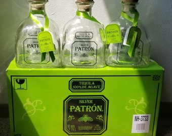 Set of 3 Silver PATRON TEQUILA 1.75 (magnum) empty liquor bottles for arts and crafts