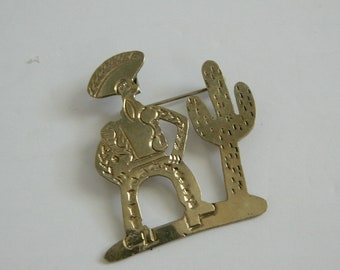 Retro Silver Tone Cowboy and Cactus Brooch and Pendant