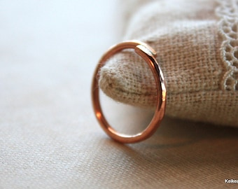 Hammered Copper Ring Copper Stacking Overlap Wire Ring Handmade Jewelry
