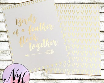 Gold Foil cover,Birds of a feather flock together, quote cover,inspiration print, Framable, use with Erin Condren Planner(TM), Happy Planner