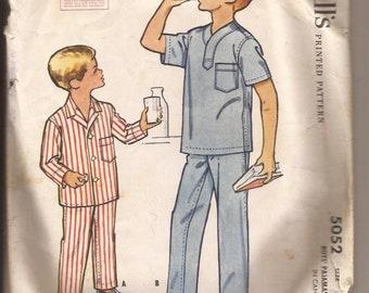 1950s McCall's Boys' Pajamas Pattern, #5052, Size 8
