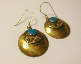 Vintage Dangle Earrings Round Indian Style