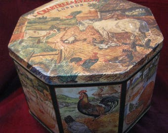 Free Shipping! Huge CRABTREE & EVELYN London 10.25 X 6.5 Octagon Metal TIN Country Barnyard Farm Animals Vintage 1985 Storage Container 1216